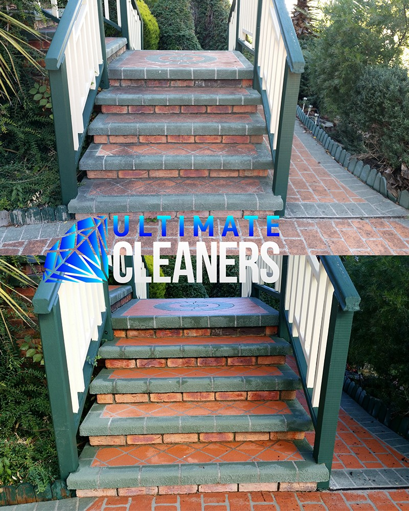 Stenciled Concrete Stairs Before & After - Ultimate Cleaners