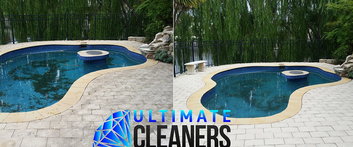 Pool Paving Cleaning Before & After - Ultimate Cleaners