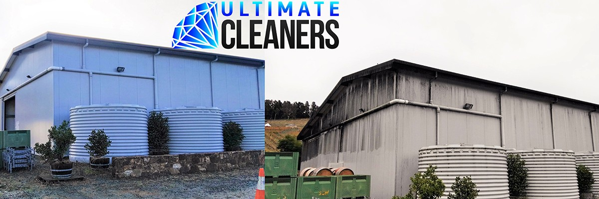Commercial Building Softwash Before & After - Ultimate Cleaners