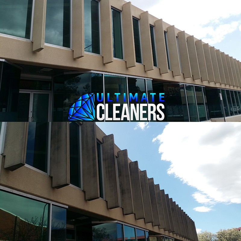 Concrete Building Cleaning Before & After
